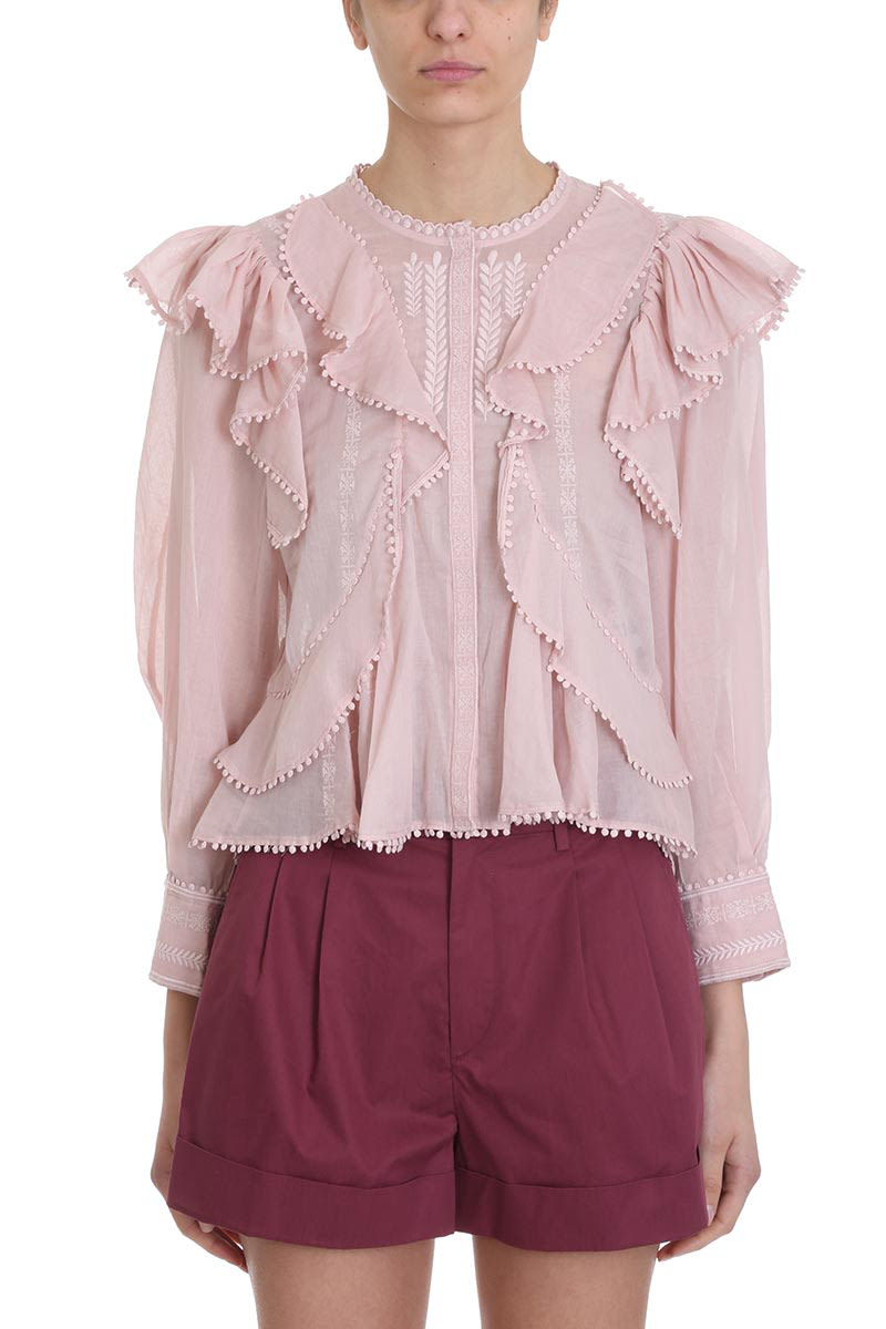 25327e9272a65 Etoile Isabel Marant Alea Pink Cotton Blouse In Rose-Pink
