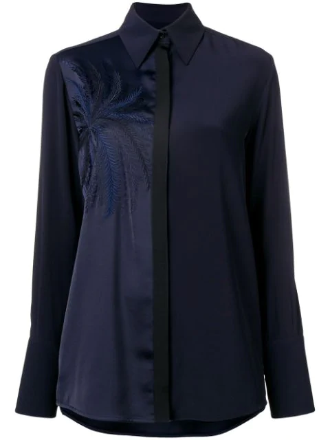 Victoria Victoria Beckham Embroidered Blouse In Blue