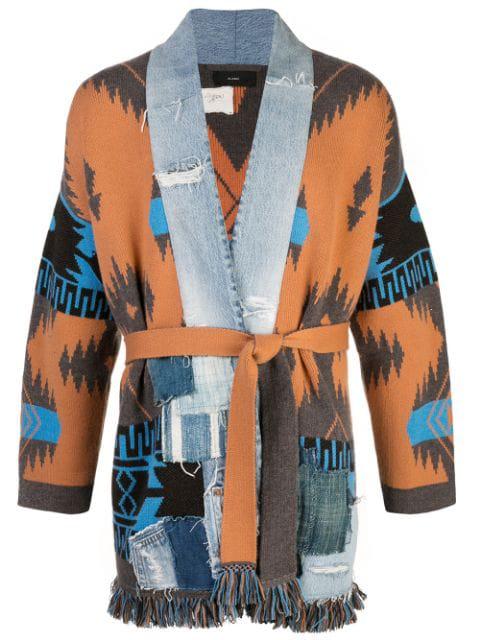 Alanui X Greg Lauren Icon Cashmere Kimono Cardigan In Orange