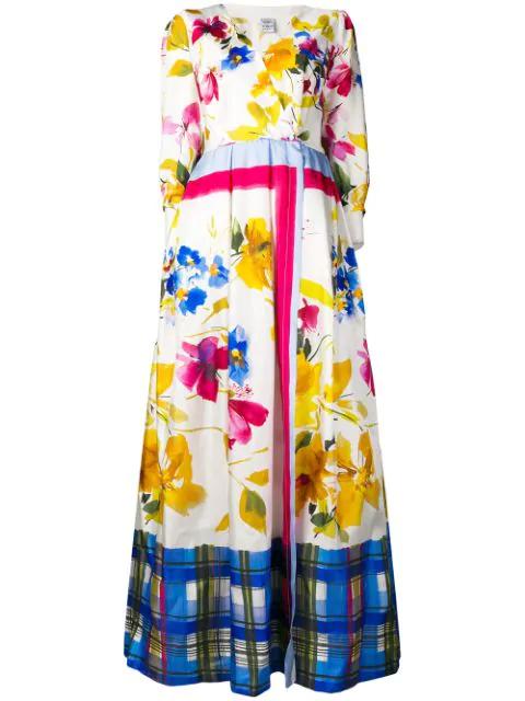 Sara Roka Floral Print Maxi Dress In D White/multicolor
