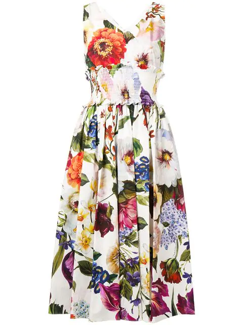 Dolce & Gabbana Floral Poplin Midi Dress In White