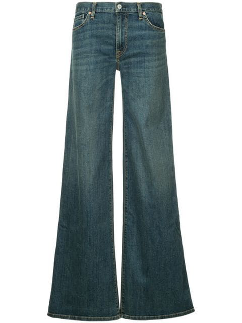 Nili Lotan Flared Buttoned Jeans In Blue