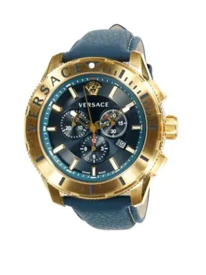 Versace Logo Stainless Steel & Leather-Strap Chronograph Watch In Gold
