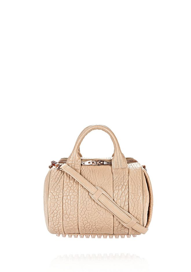 Alexander Wang Rockie In Pebbled Latte With Rose Gold In Nude