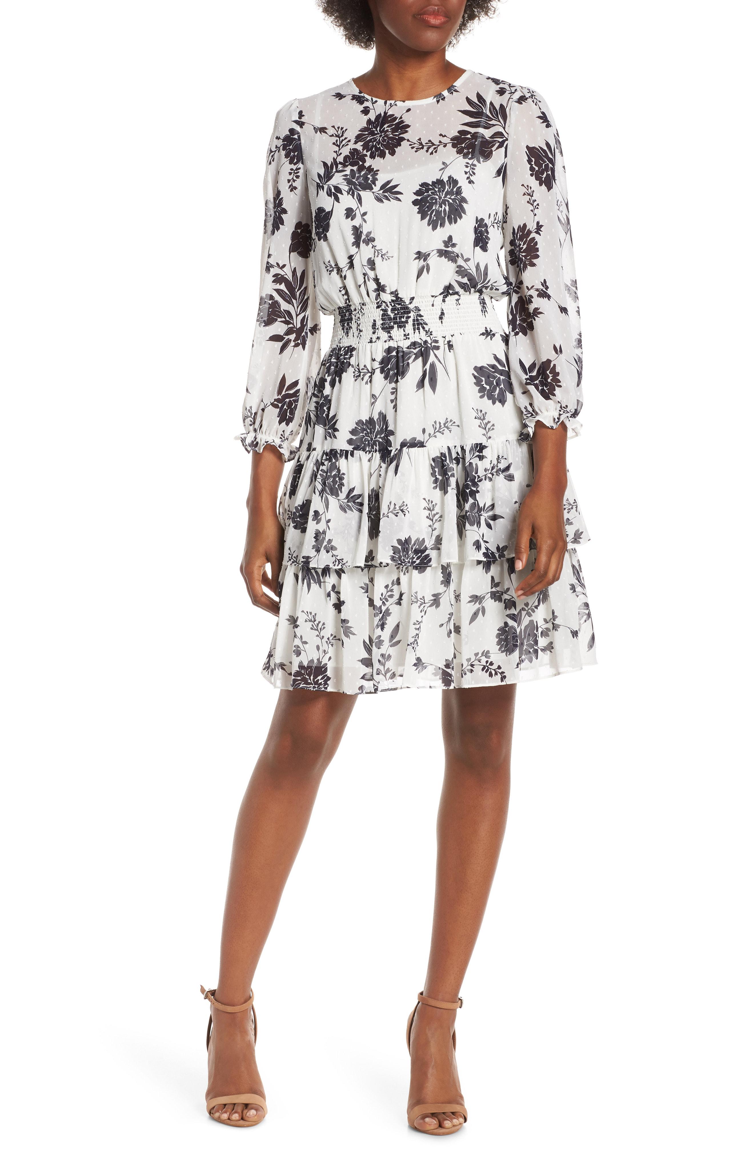 d22abf5a644 Eliza J Ruffle Blouson Dress In Ivory