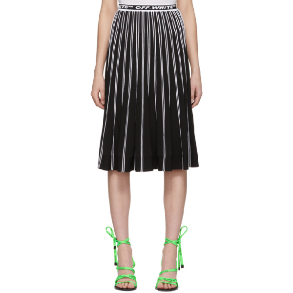 Off-White Colorblocked Plisse Midi Skirt, Black In 1000 Black No Color