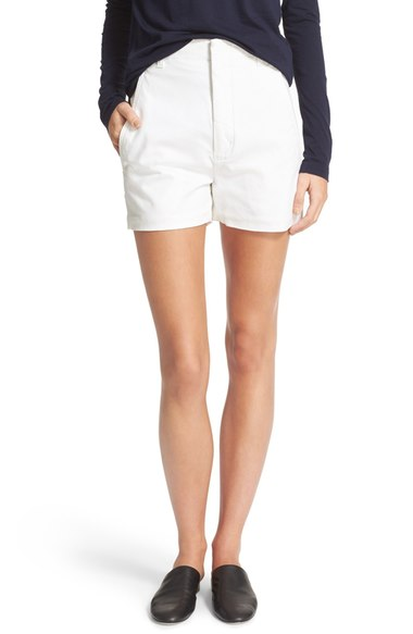 Vince High Waist Stretch Cotton Shorts In Bleached