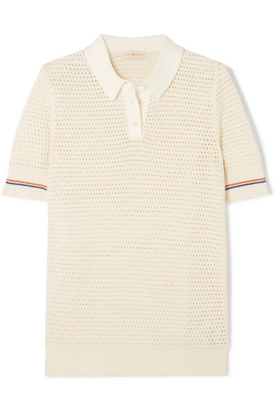 Tory Burch Mesh Short-Sleeve Polo Sweater In Ivory
