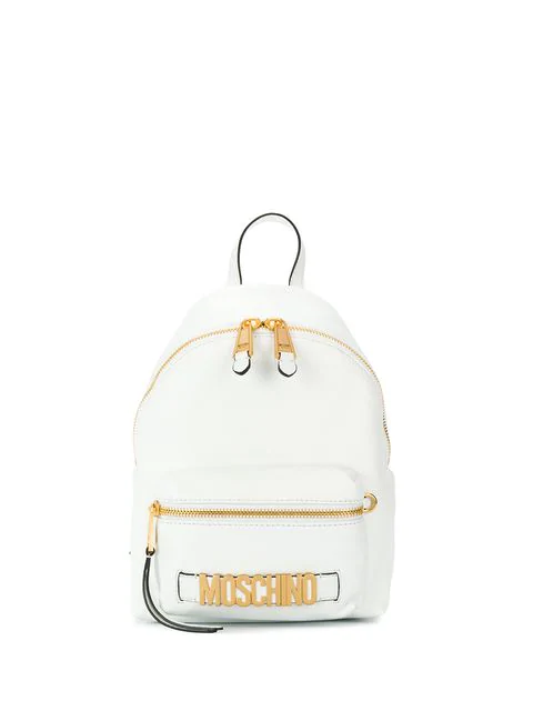 Moschino Logo Backpack In White