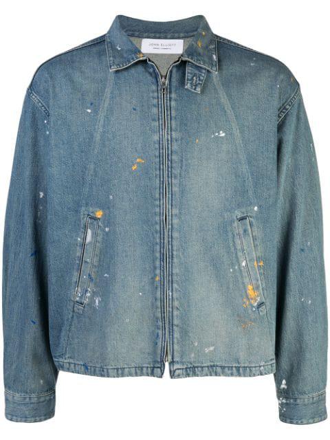 John Elliott Zipped Up Denim Jacket In Blue