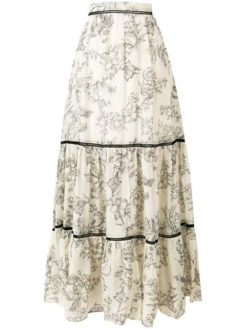Twinset Floral Print Maxi Skirt In Neutrals
