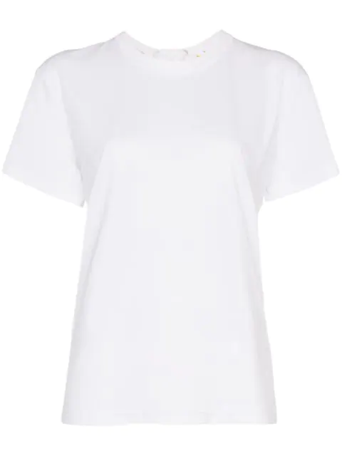 Moncler Lace-up Logo Embossed Cotton T-shirt In White