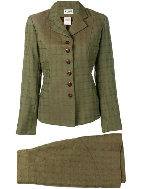 Alaïa Skirt And Jacket Suit In Green