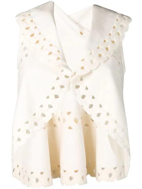 Alaïa Sleeveless Cut Out Shrug In White