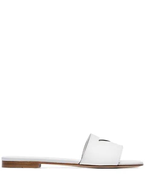 Prada Women's Genuine Leather Slippers Sandals In White