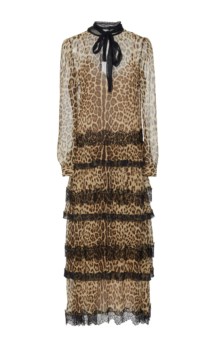 bdaeaee7ccb1 Red Valentino Lace-Trimmed Leopard-Print Silk-Crepon Midi Dress ...