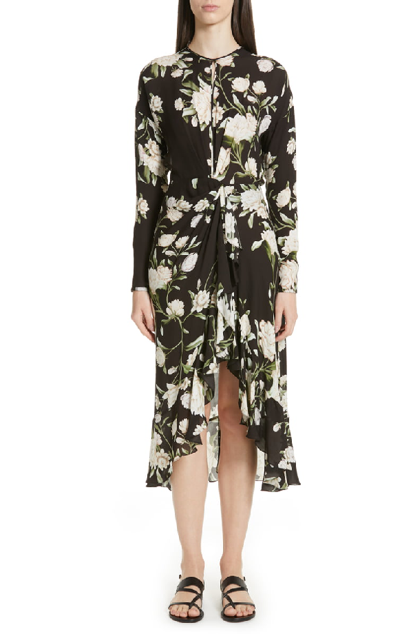 07ef040e729 Johanna Ortiz Melodias Salvajes Front Slit Floral Print Silk Dress ...