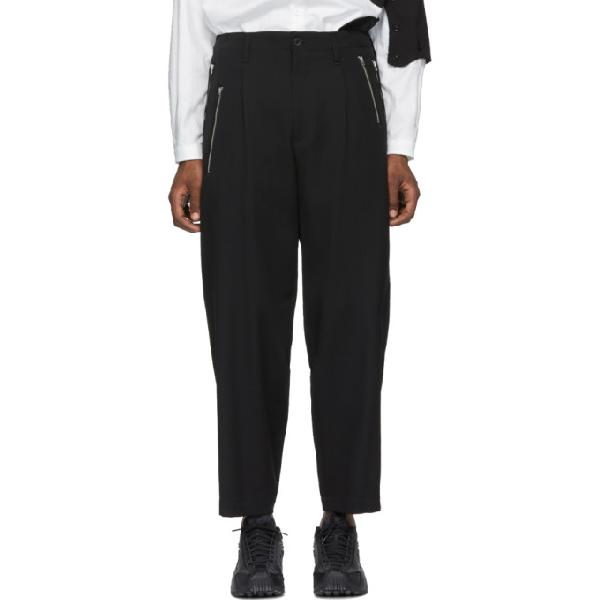 Yohji Yamamoto Zip Detail Trousers In Black