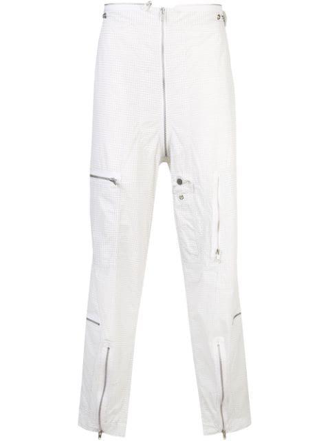 Maison Margiela Grid-Print Zip-Pocket Cargo Trousers In White