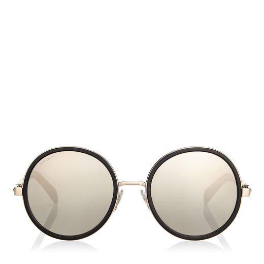 7c06bcfb43cc Jimmy Choo Andie/S 54 Light Grey Havana Acetate Round Framed Sunglasses  With Crystal Glitter