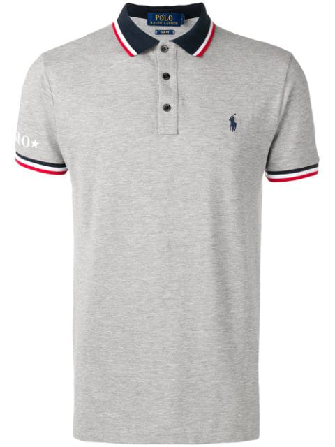 Polo Ralph Lauren Stripe Detail Polo Shirt In Grey