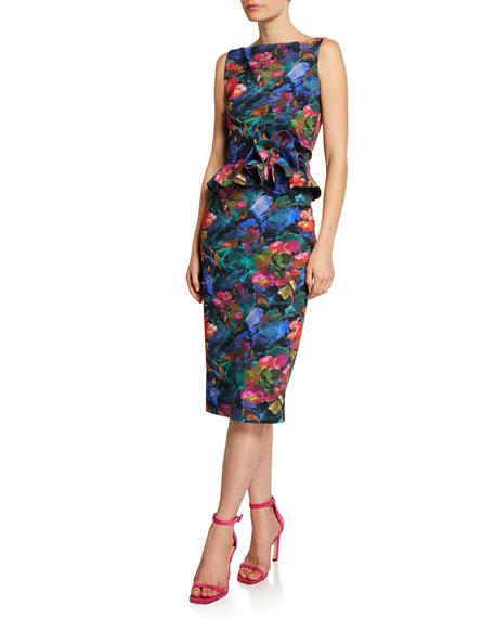 819d198c Chiara Boni La Petite Robe Abstract-Print High-Neck Sleeveless Peplum Dress  In Multi