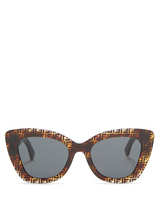 615cecf10f Fendi Ff-Print Round Acetate Sunglasses In Brown Multi