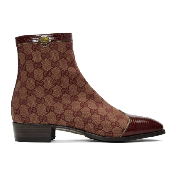 Gucci Men's Plata Original Canvas Ankle Boots In Bordeaux