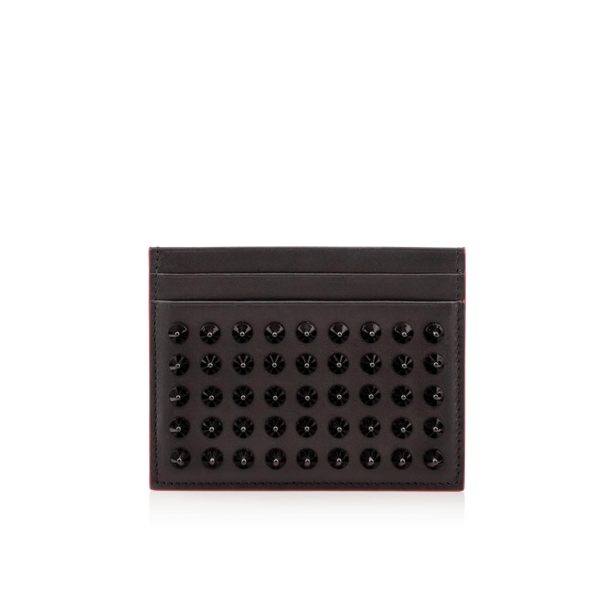 Christian Louboutin Kios Spike-Embellished Leather Cardholder In Black