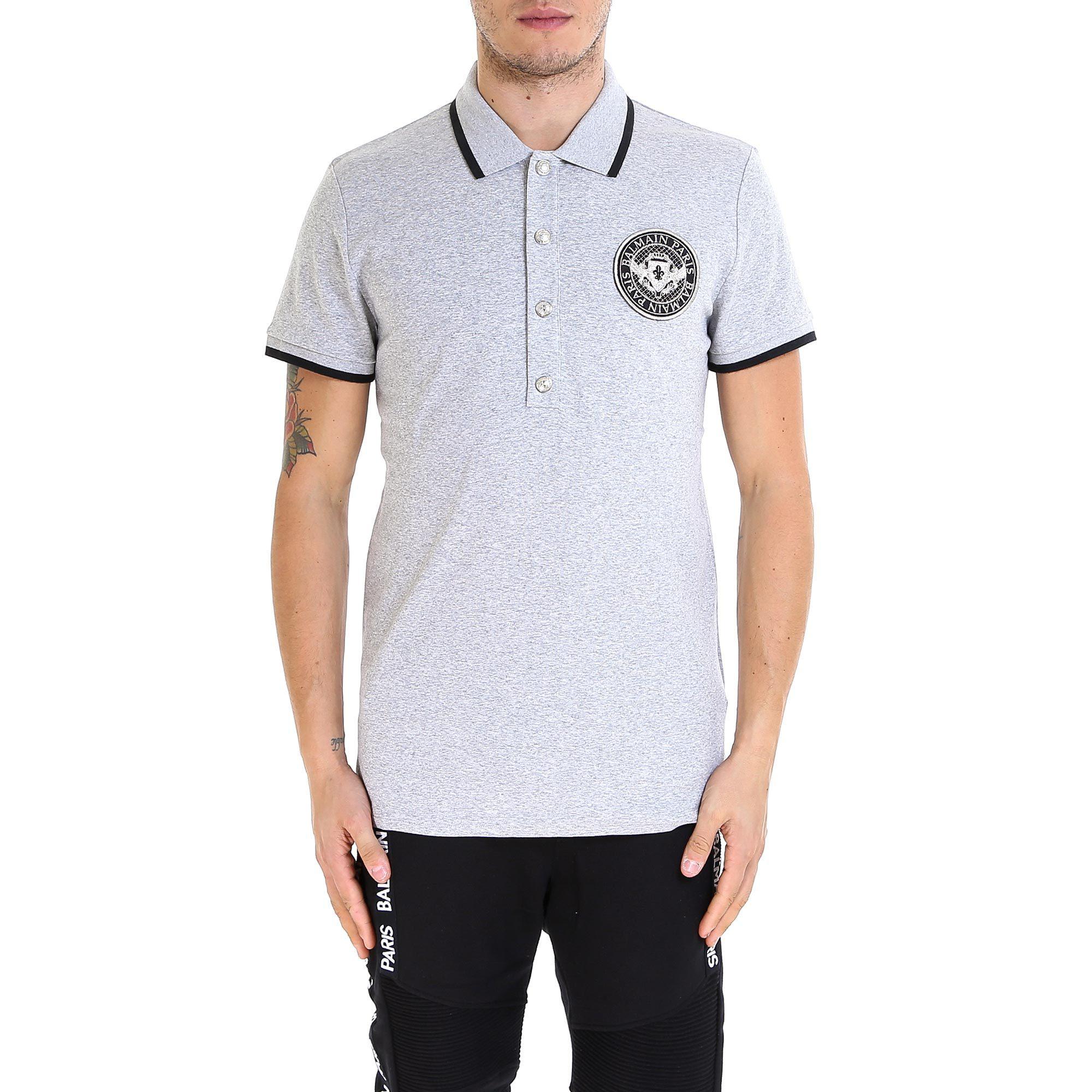df635a12 Balmain Logo Patch Polo Shirt In Grey | ModeSens