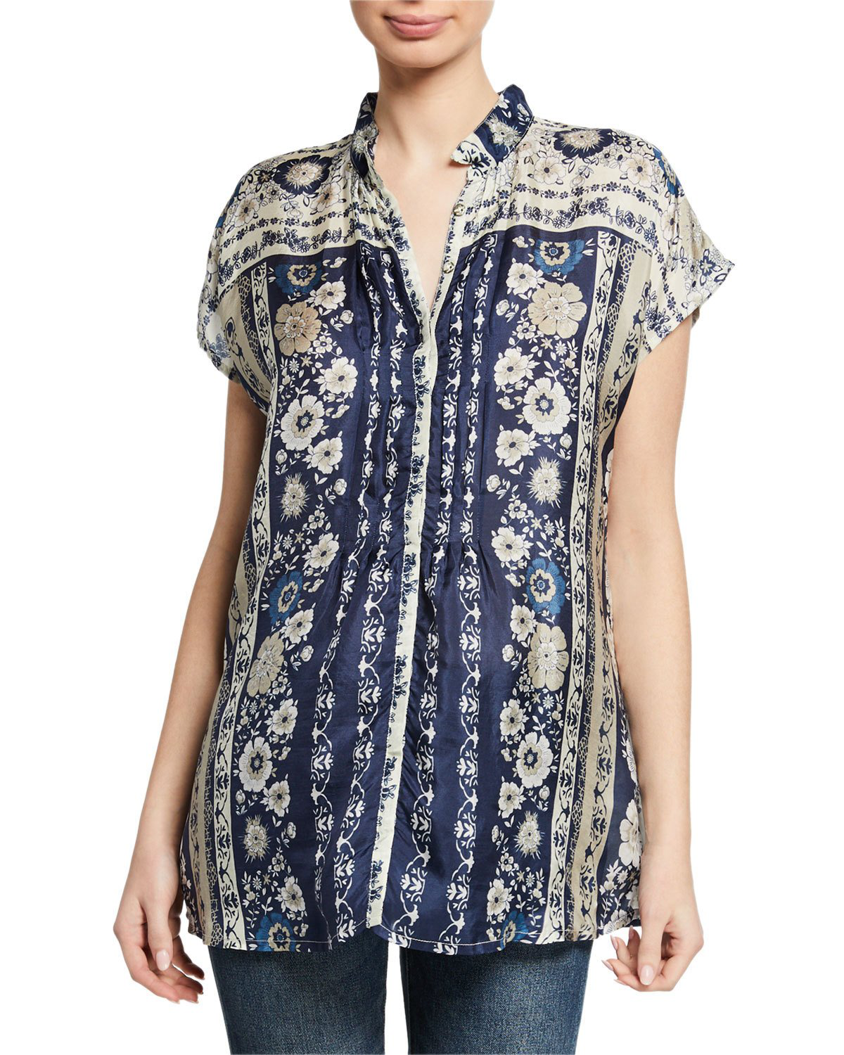 041883bb2b605c Johnny Was Zinnia Floral-Print Button-Front Short-Sleeve Silk Top In Multi