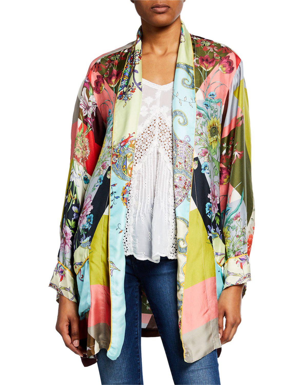 aa071c5232d Johnny Was Flower Block Long-Sleeve Silk Kimono Robe In Multi | ModeSens