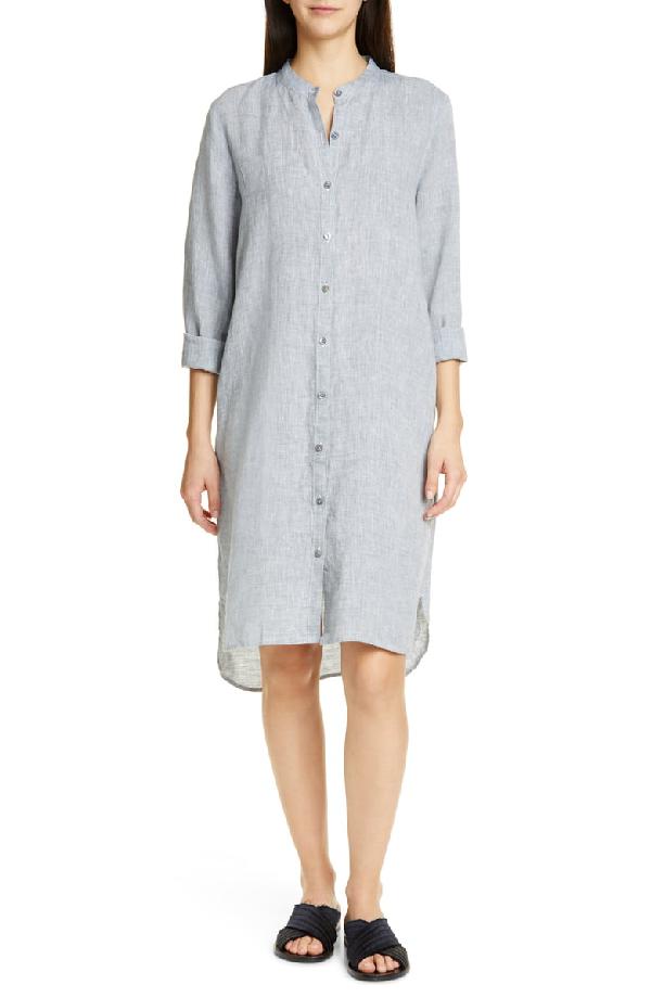 8dd67be37500 Eileen Fisher Plus Size Yarn-Dye Organic Linen Hanky Shirtdress In Chambray