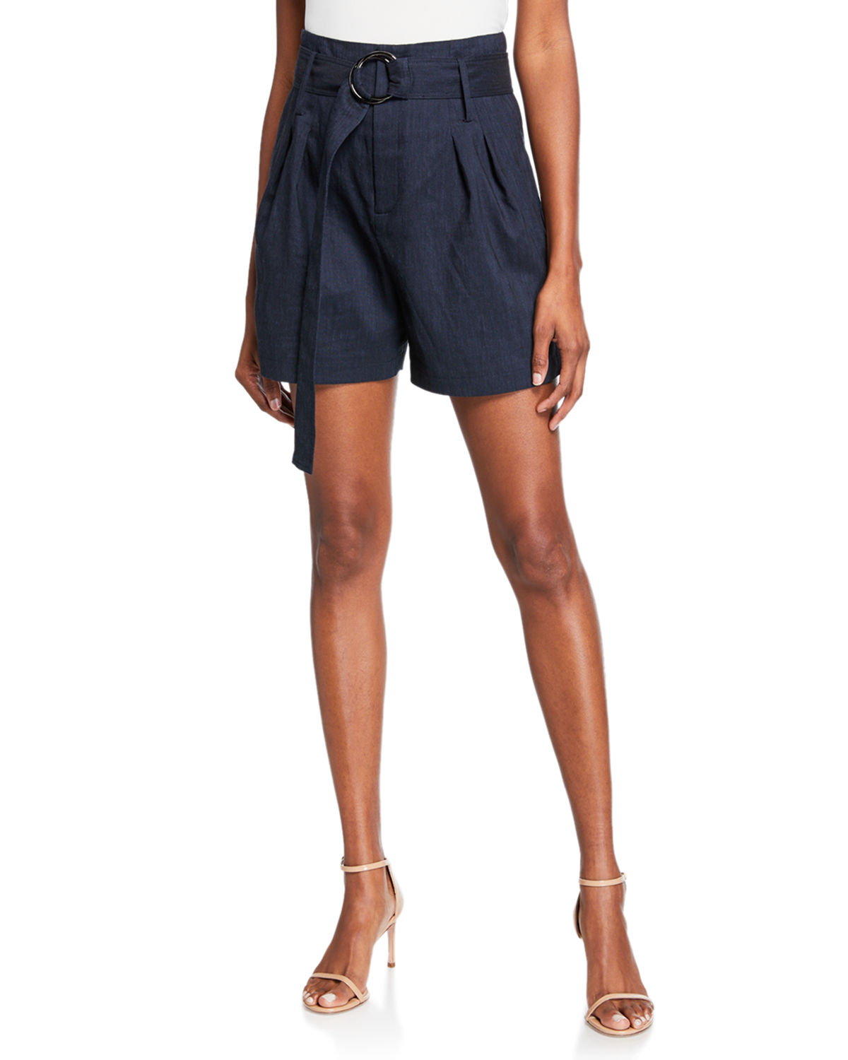 d0ef814f08 Elie Tahari Genna High-Waist Belted Shorts In Navy | ModeSens