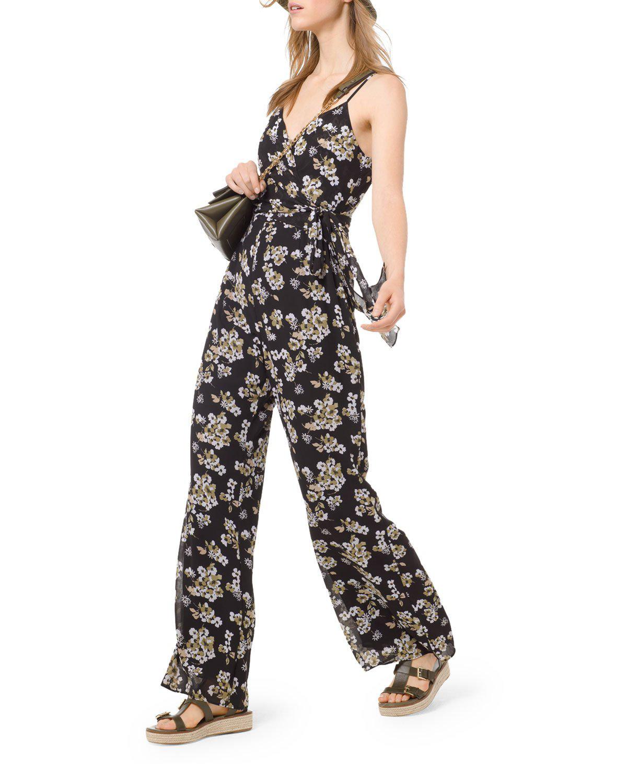 5e66ef12d0804 Michael Michael Kors Glam Fleur Sleeveless V-Neck Jumpsuit In Black/Yellow