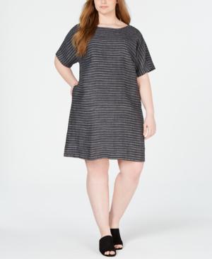 282b3897f0d Eileen Fisher Plus Size Pinstripe Delave Linen Short-Sleeve Tunic Dress In  Graphite