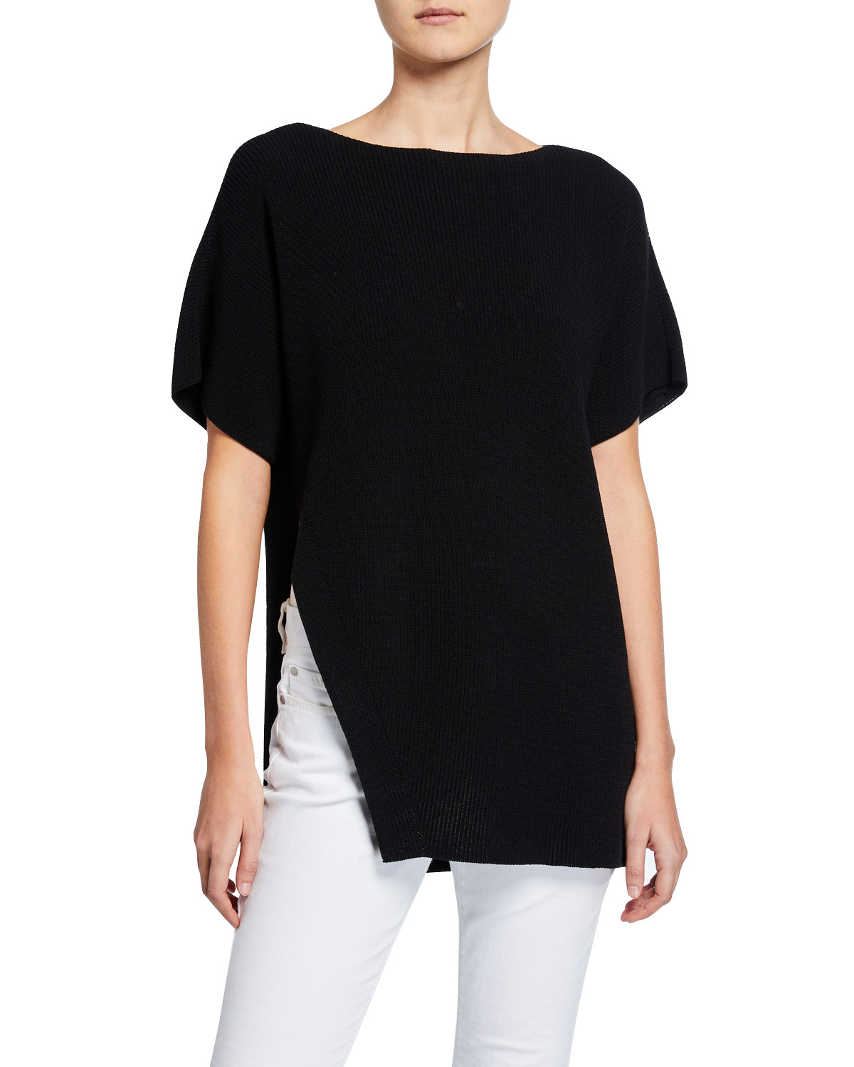 95af418d650 Eileen Fisher High-Neck Elbow-Sleeve Asymmetric Cord Tunic Sweater In Black