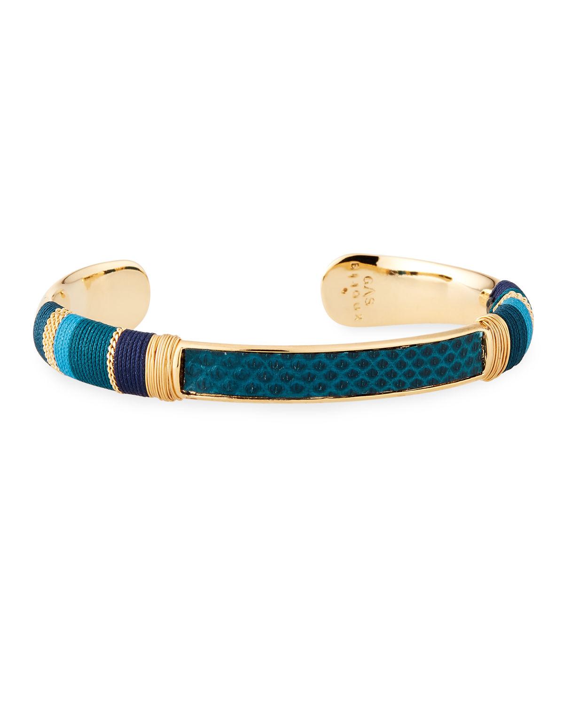 0cb524675aa2bd Gas Bijoux Massai Embossed Cuff Bracelet In Blue | ModeSens