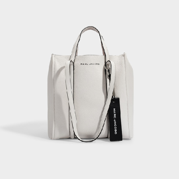 Marc Jacobs Tag 27 Large Pebbled Leather Tote In White