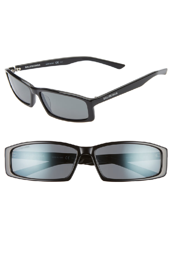 Balenciaga 60Mm Rectangle Sunglasses - Shiny Black/ Grey
