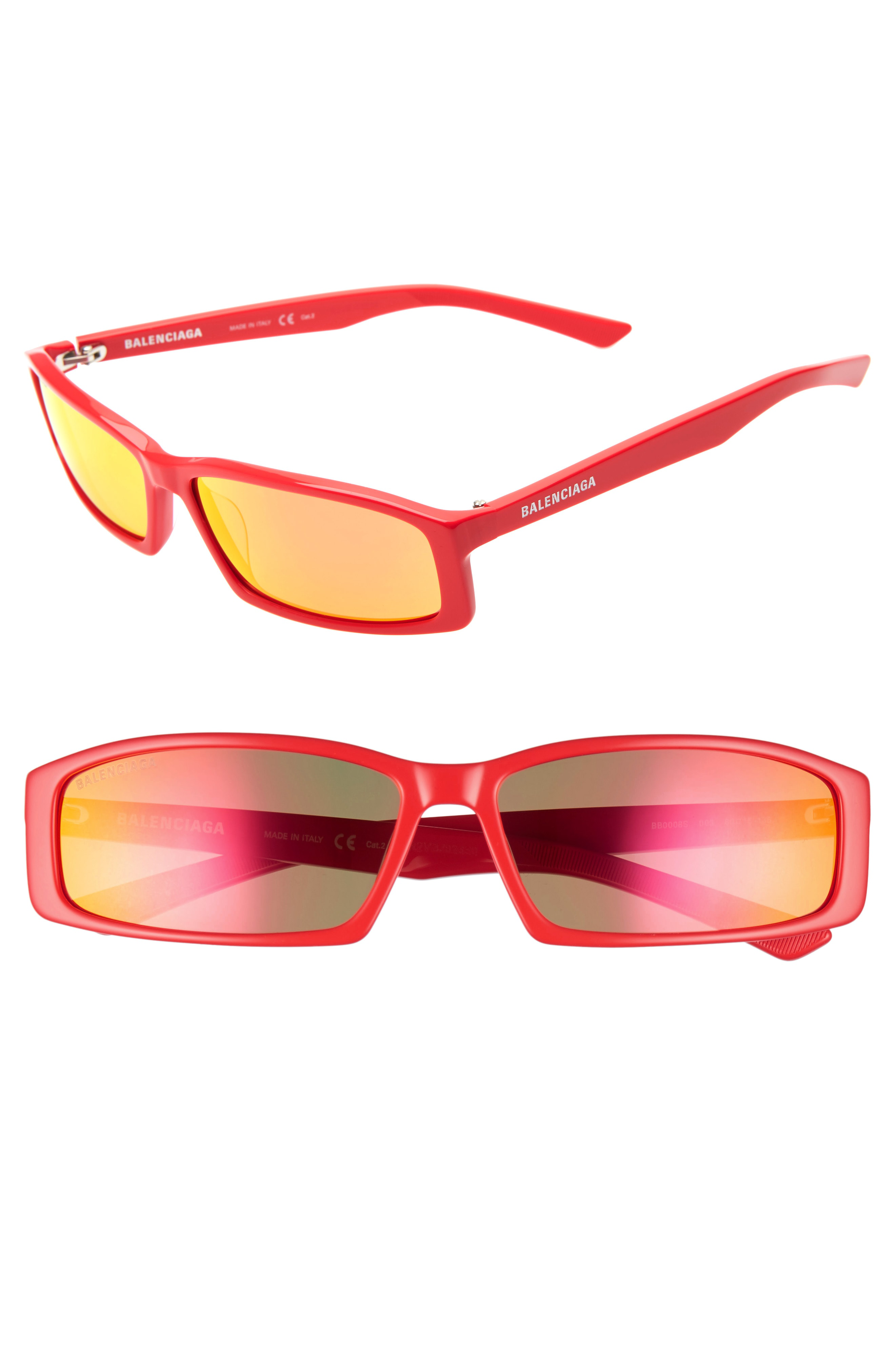 Balenciaga 60Mm Rectangle Sunglasses - Shiny Solid Red/ Red