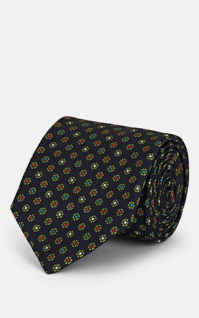 Bigi Floral-Motif Silk Faille Necktie - Navy