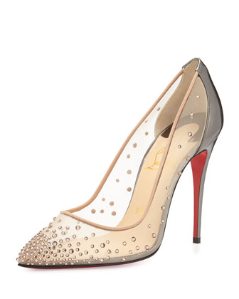 Follies Crystal Mesh Red Sole Pump In Silver Nude