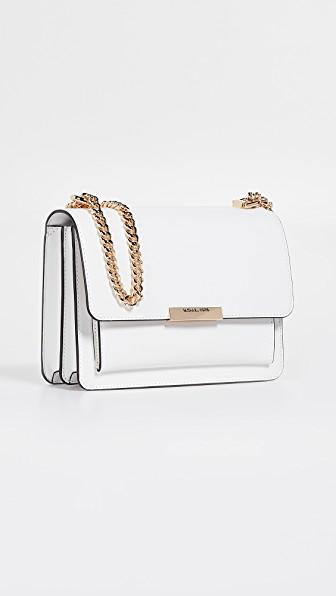 023677851043 Michael Michael Kors Jade Large Gusset Shoulder Bag In Optic White ...