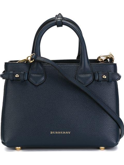 Burberry House Check Horseshoe Leather Satchel Bag, Ink Blue
