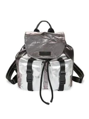 Kendall + Kylie Metallic Colorblock Backpack In Dark Grey Metallic