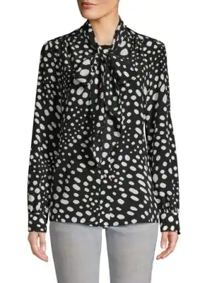 Marc Jacobs Printed Silk Top In Black White