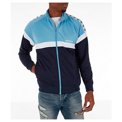 Adidas Originals Adidas Men's Originals Itasca Tape Track Jacket In Blue Size Large