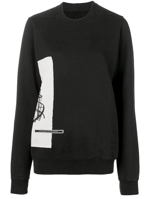 Rick Owens Drkshdw Contrast Print Sweatshirt In Black