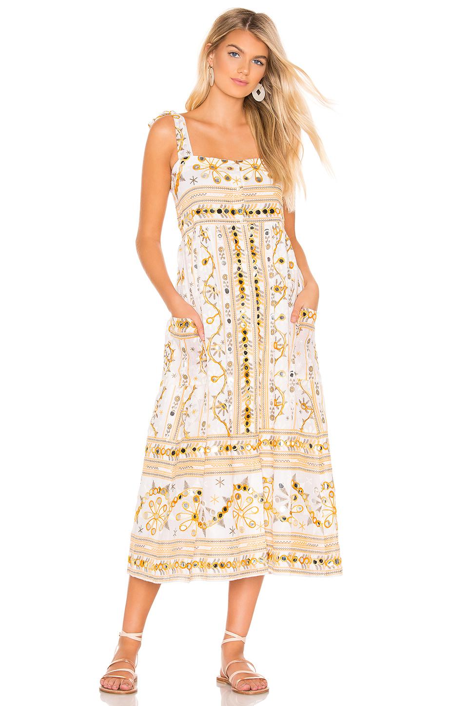142829b0f6fea Juliet Dunn Tribal Print Tie Shoulder Midi Dress In Yellow | ModeSens